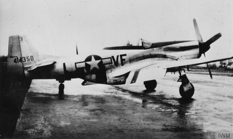A P-51 Mustang (VF-L, serial number 44-14350) of the 336th Fighter Squadron, 4th Fighter Group. Handwritten caption on reverse: '336th F.S., 4th F.G., 8th Air Force.'