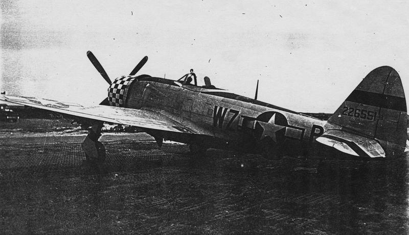 A P-47 Thunderbolt (WZ-P, serial number 42-26551) of the 84th Fighter Squadron, 78th Fighter Group at Duxford.