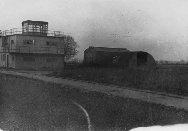 The control tower at Thorpe Abbotts, home of the 100th Bomb Group, 1952. Handwritten caption on reverse: '1952, 100 BG.'