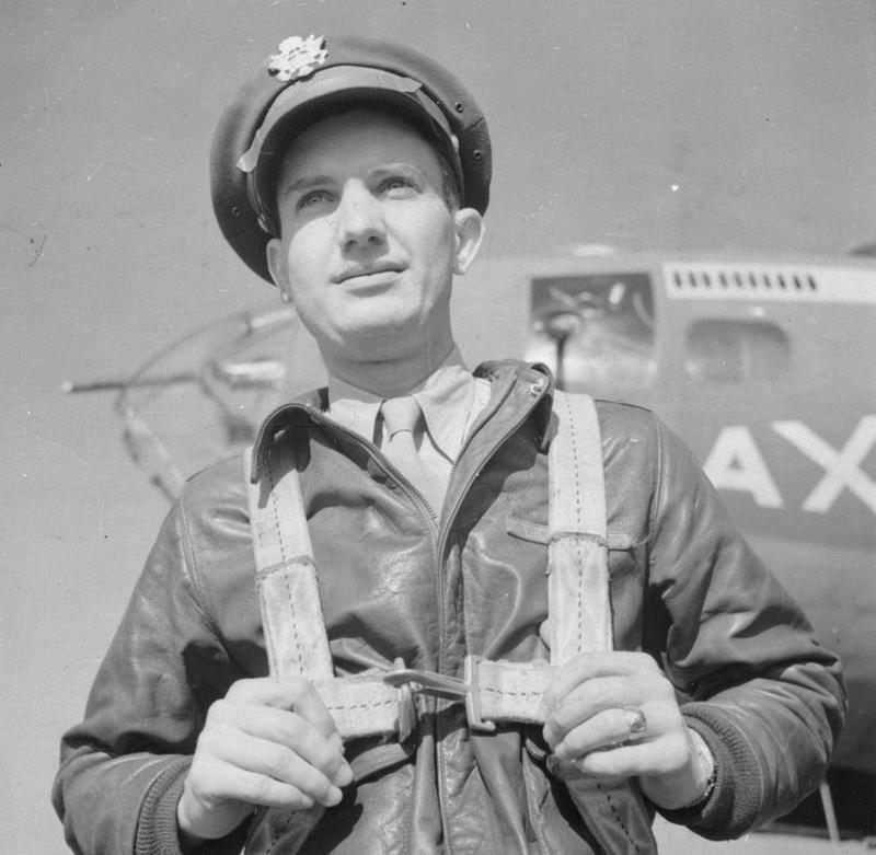 Major General Lewis E. Lyle, pilot and later CO of the 303rd Bomb Group. A printed caption was previously attached to the reverse, however this has been removed. Handwritten caption on reverse: '6-9-43 C.' On reverse: Associated Press [Stamp].