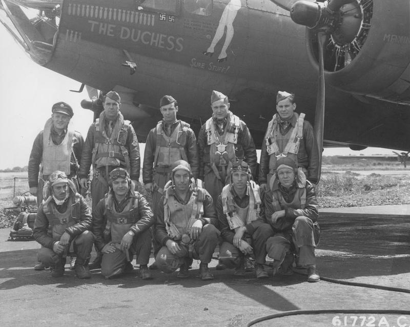 Lieutenant Reeder and his crew, of the 359th Bomb Squadron, 303rd Bomb Group, with their B-17 Flying Fortress, nicknamed