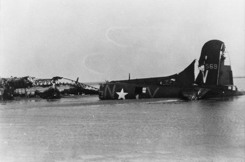 The tail of a B-17 Flying Fortress (GN-V, serial number 41-24569) nicknamed