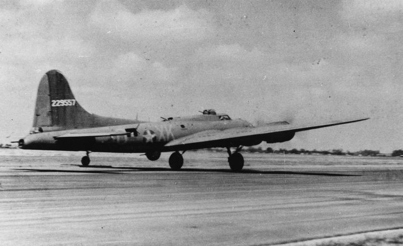 A B-17 Flying Fortress (XK-D, serial number 42-29557) of the 365th Bomb Squadron, 305th Bomb Group takes off. Handwritten caption on reverse: '30/6/43.'