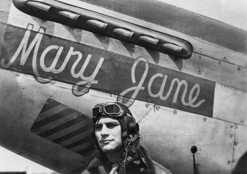 Major James B Cheney of the 361st Fighter Group with his P-51 Mustang (E9-A, serial number 42-106944) nicknamed