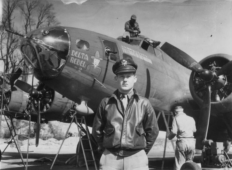 Lieutenant C.E. Cliburn of the 91st Bomb Group with his B-17 Flying Fortress (serial number 42-5077) nicknamed