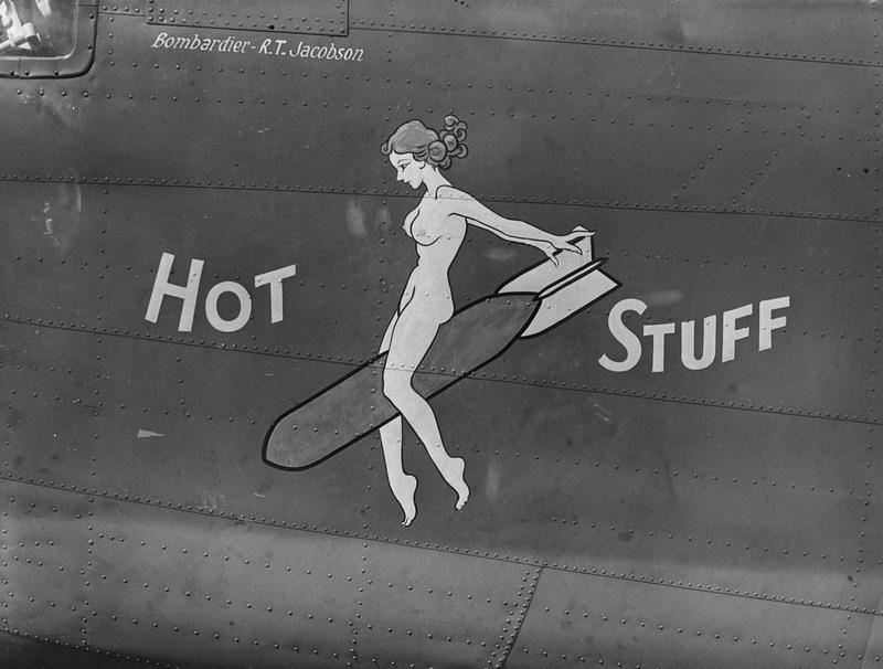 The nose art of the  B-24D Liberator, 41-23728, named,  Hot Stuff,  in the 330th Bomb Squadron, the 93rd Bomb Group, and TDY to the 9th Air Force.                                                                                                                                                                                                                                                                                                                                                                                                                              Handwritten caption on reverse: '123728, 330BS, sal/co 3/5/43.'
