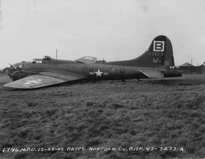 A crsashed B-17F Flying Fortress (serial number 42-3273) of the 95th Bomb Group. Official caption on image: