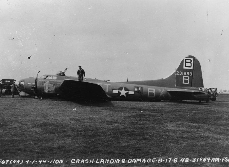 A B-17G Flying Fortress (ET-B, serial number 42-31989) of the 336th Bomb Squadron, 95th Bomb Group that has crash-landed 1 April 1944. Official caption on image: