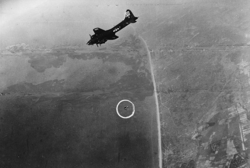 A B-17 Flying Fortress ( serial number 42-30233) of the 95th Bomb Group in flight during a mission over Munster, B-17 Flying Fortress (serial number 42-30181) nicknamed