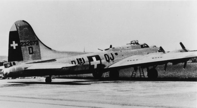A B-17 Flying Fortress (QJ-D, serial number 42-32073) formerly of the 337th Bomb Squadron, 96th Bomb Group, in service with the Swiss Air Force. Handwritten caption on reverse: '42-32073, Dübendorf, 13-4-44.'