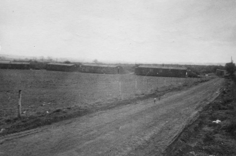 Crew barracks at Bottesford, home of the 436th Troop Carrier Group and 440th Troop Carrier Group. Handwritten caption on reverse: 'A-3. Bottesford, barracks.'