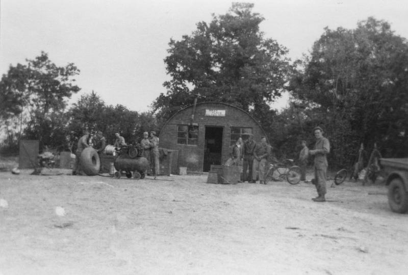 A Nissen hut used for technical supplies at Membury. The 436th Troop Carrier Group were stationed at Membury between March 1944 and February 1945. Handwritten caption on reverse: 'Tech Supply at 466'.