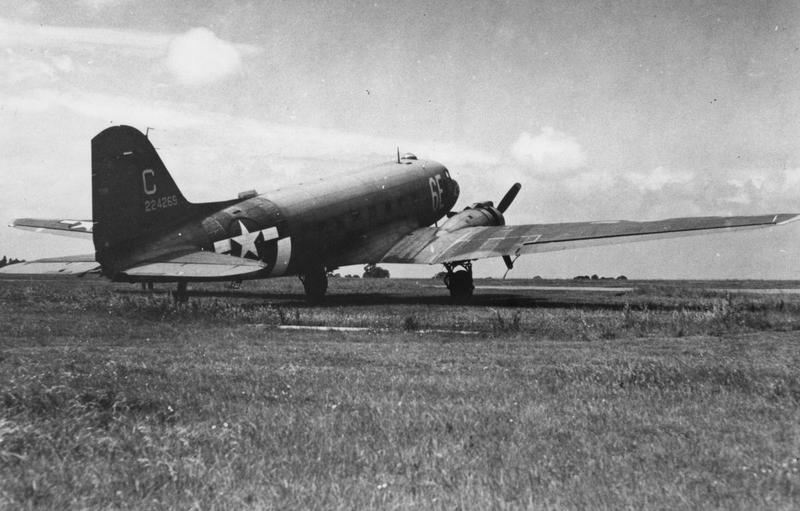 A C-47 Skytrain (serial number 42-24269) of the 316th Troop Carrier Group at Goxhill. Handwritten on reverse: ''44. Goxhill. Douglas C-47 - 224269. 316th Troop Carrier Group.'