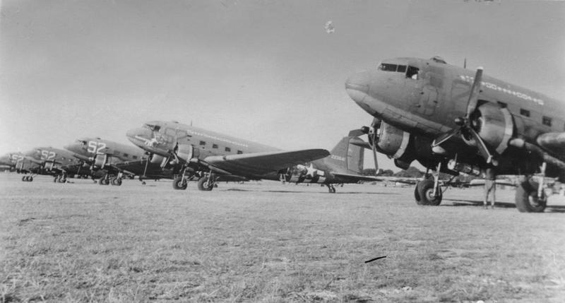 C-47 Skytrains of the 32nd Troop Carrier Squadron, 314th Troop Carrier Group. Handwritten caption on reverse: 'Barkston Heath? Saltby?'