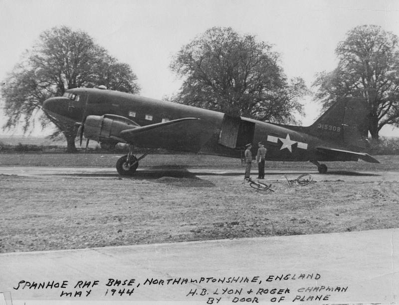 A C-47 Skytrain (serial number 43-15308) of the 315th Troop Carrier Group at Spanhoe. Handwritten on front of image: