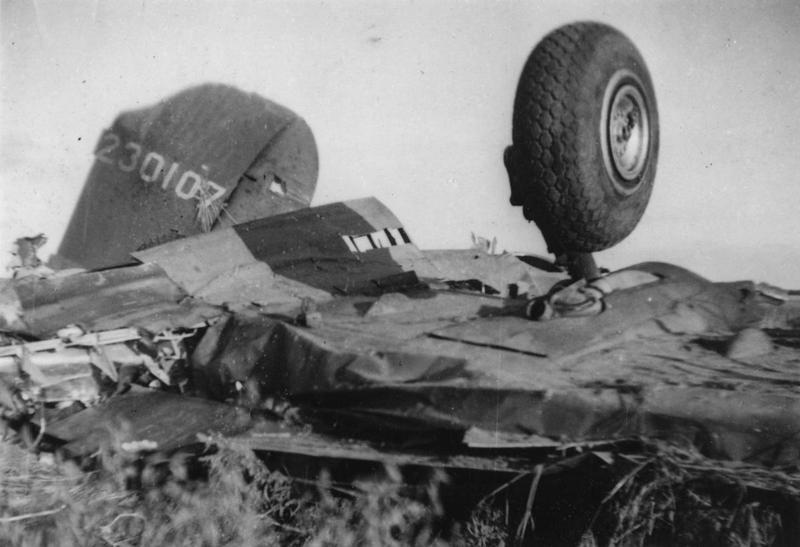 The wreck of a B-17 Flying Fortress (serial number 42-30107) of the 379th Bomb Group.