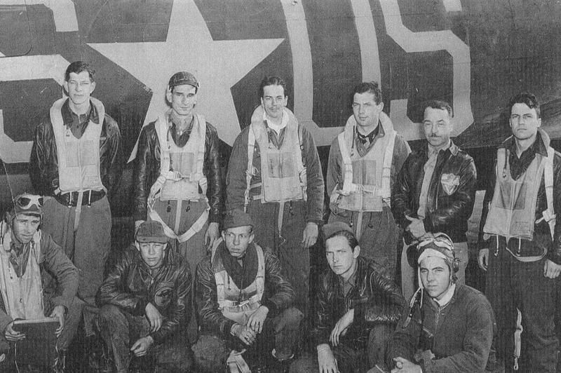 A bomber crew led by Ralph E. Pulcipher of the 547th Bomb Squadron, 384th Bomb Group with their B-17F Flying Fortress (SO-S, serial number 42-5843) nicknamed