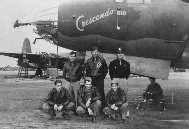 A bomber crew of the 386th Bomb Group with their B-26 Marauder nicknamed