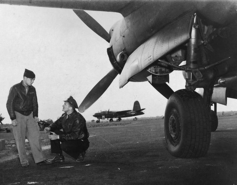 Second Lieutenant G. Varnet (navigator) and First Lieutenant Lutz L. Smehyl (bombardier) of the 554th Bomb Squadron, 386th Bomb Group with their B-26 Marauder (RU-Q, serial number 41-34971) nicknamed