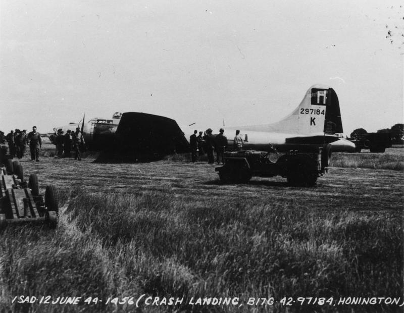 A crashed B-17G Flying Fortress (serial number 42-97184) of the 388th Bomb Group at Honington, 12 June 1944. Official caption on image: