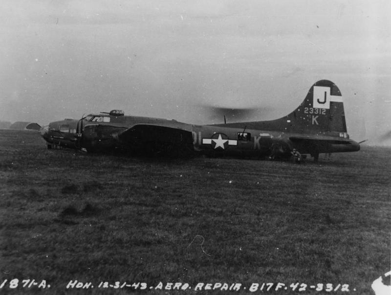 A crashed B-17F Flying Fortress (DI-K, serial number 42-3312) of the 570th Bomb Squadron, 390th Bomb Group. Official caption on image: