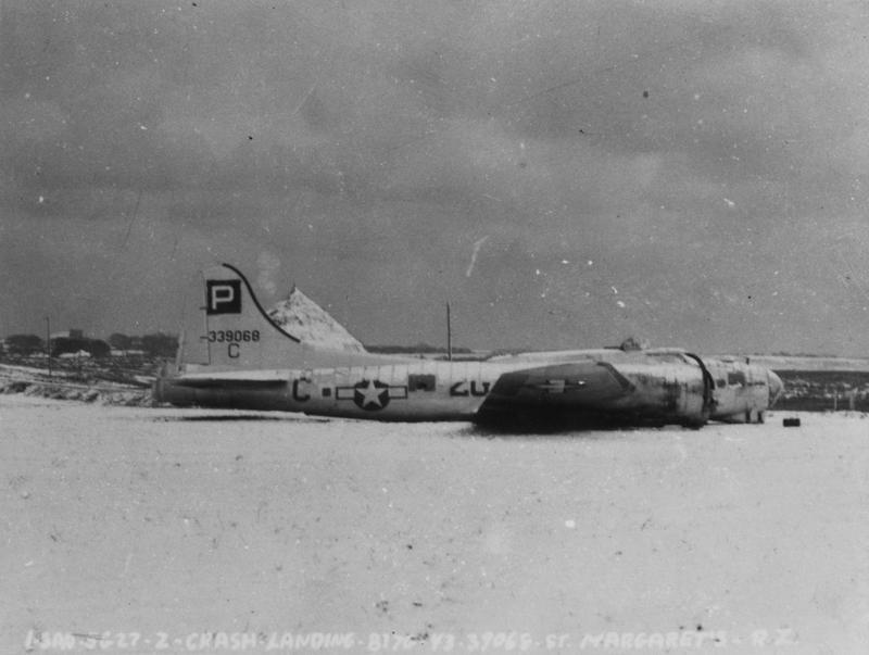 A side view of a B-17G Flying Fortress (2G-C, serial number 43-37068) of the 836th Bomb Squadron, 487th Bomb Group that crash-landed at St. Margaret's. Official caption on image: