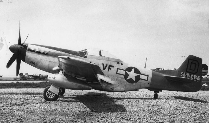 A P-51 Mustang (serial number 44-63494) of the 52nd Fighter Group, 15th Air Force. Handwritten caption on reverse: '52nd FG, 5th FS (VF) Torretto AF Cerisnola Italy Base of 461 & 484 BG, 49th Wing 15 AF, Taken spring 1945.'