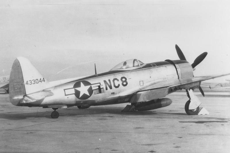 A P-47 Thunderbolt (serial number 44-33044) of the 86th Fighter Group at Neubiberg. Image via A Pearcy. Handwritten caption on reverse: 'P-47, Serial: 433044/NC-8, 86 FG, Northholt.'