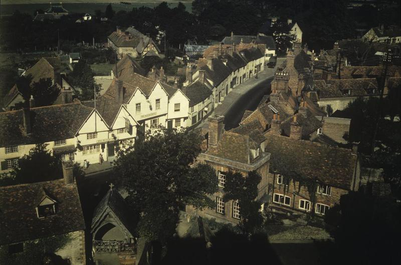 The George Hotel and High Street in Dorchester, Oxfordshire. Image by Robert Astrella, 7th Photographic Reconnaissance Group . Written on slide casing: 'Dorchester, (near Mount Farm) Oxon.'