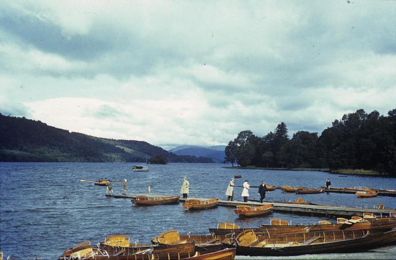 Paddle boats on Lake Windemere, Lake District. Image by Robert Astrella, 7th Photographic Reconnaissance Group . Written on slide casing: 'Lake Windemere.'