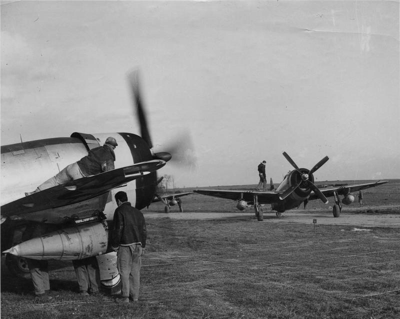 P-47 Thunderbolts of the 36th Fighter Group prepare for a mission.