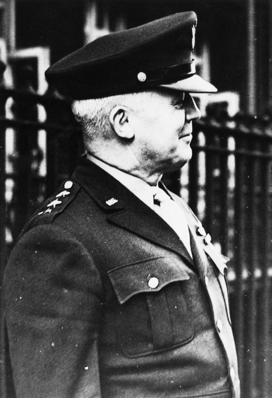 General Henry H Arnold in London. Handwritten caption on reverse: 'HH Arnold in London, 1943.