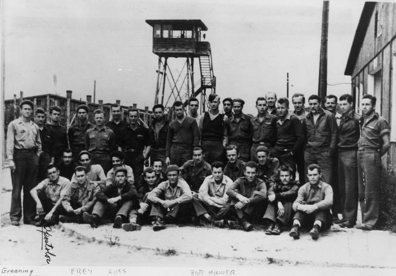 Prisoners of war, including Colonel Hubert Zemke of the 479th Fighter Group at Stalag Luft I.
