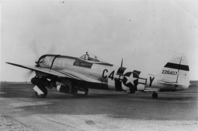 A P-47 Thunderbolt (C4-Y, serial number 42-26407) of the 365th Fighter Group. Handwritten caption on reverse: '388th FS, 365th FG, 9th AF.'