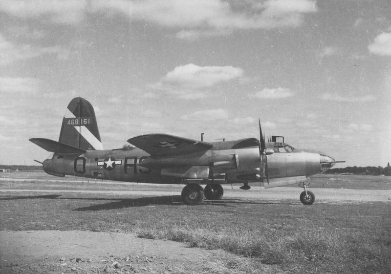 A B-26 Marauder (H9-Q, serial number 44-68161) of the 586th Bomb Squadron, 394th Bomb Group. Handwritten caption on reverse: '394BG, 586BS.'
