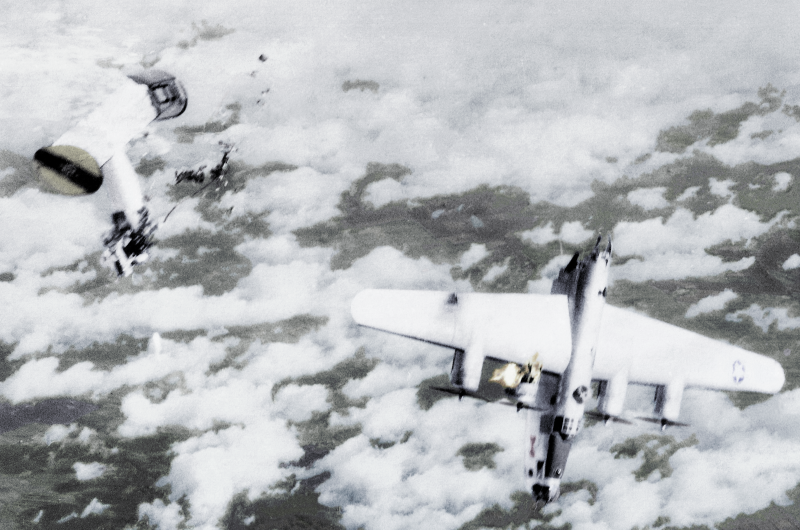 On 4th April, 1945, Liberators of the 2nd Air Division were attacked by Me-262 jet fighters. Aircraft from the 448th Bomb Group flying mission No.248 were to bomb jet airfields throughout Germany and forty-five aircraft from Seething attacked the secondary target at Wesendorf due to cloud cover over the primary target at Parchim.   Approximately fifty German jet and rocket fighter aircraft engaged the formation causing a total loss of eight B-24 Liberators, three of which were from the 448th BG, including 44-50838 (Red Bow, pictured). Also shot down were Trouble N Mind, a B-24H piloted by Captain John Ray, Jr [DETAILS of SHAFTER CREW NEEDED]  Although I have seen the damage attributed to flak in at least one publication the nature and scale of the damage would suggest that the aircraft was hit by an R4M rocket from an Me-262 jet.   (Thanks to donall for his contribution on the forums at armyairforces.com)