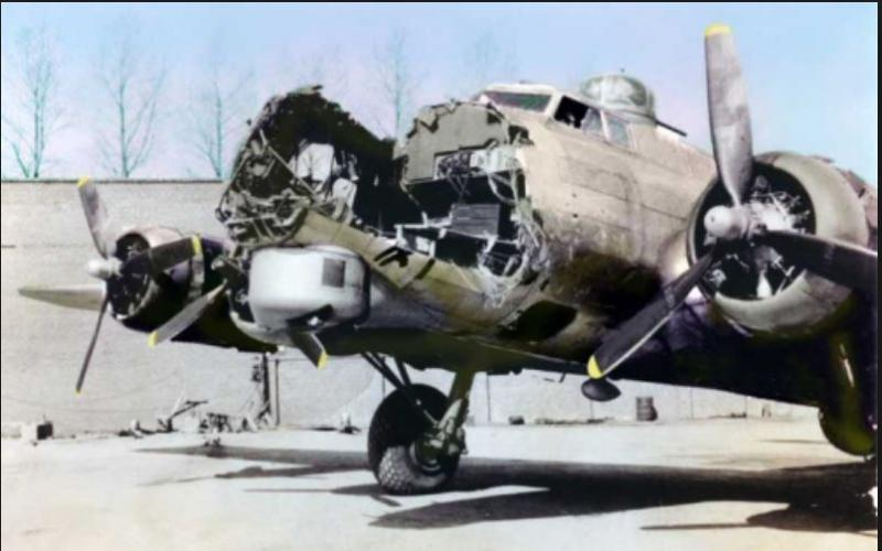 44-8430 SO-, RECALL, 547th Bomb Squadron, 384th Bomb Group.  Landed at Airfield A-87 (Charleroi, Belgium) after substantial damage from mid-air collision with 43-37843 in bad weather, on returning from mission, 4/5/45.   Charles Allyn Lewis, pilot.