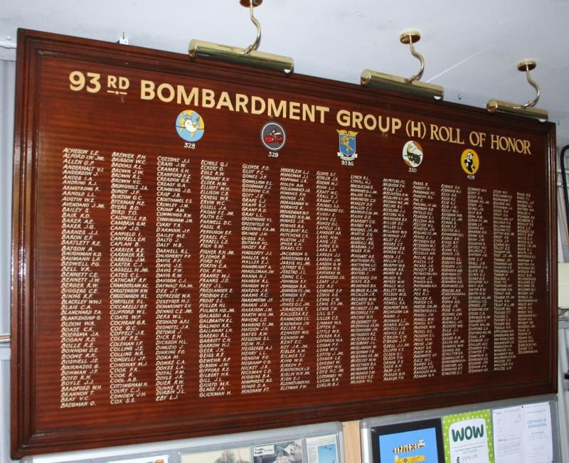 93rd Bomb Group Roll of Honor at Hardwick Airfield Memorial Museum.