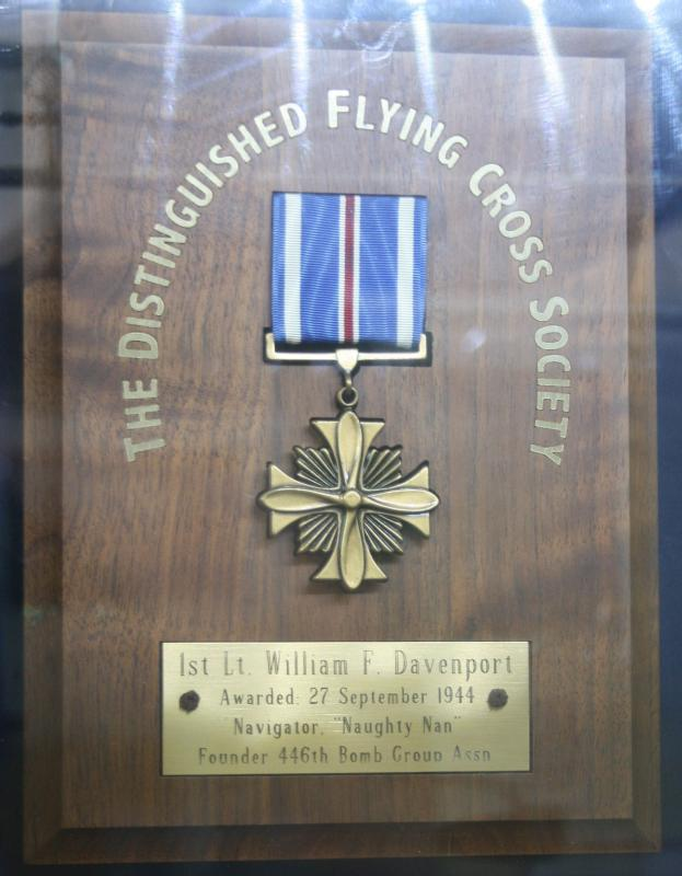Distinguished Flying Cross awarded to 1st Lt. William F. Davenport at 446th Bomb Group Museum, Norfolk & Suffolk Aviation Museum, Flixton, Suffolk.