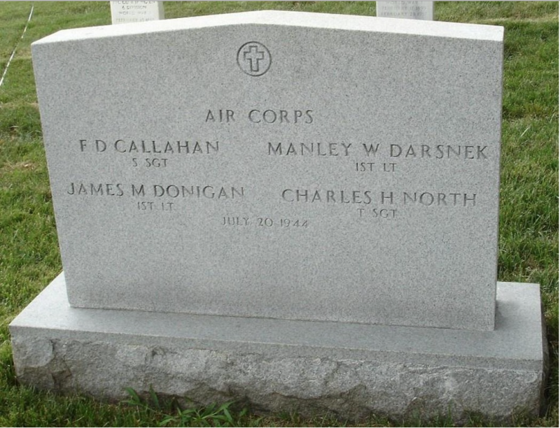 Tomb for F. D. Callahan, Mankey W. Darsnek, James M. Donigan, Charles H. North killed while on a mission to Leipzig, Germany.