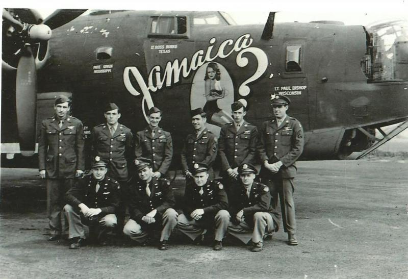 Crew #503 Joseph L. Booth Crew 466th BG - 785th BS  Standing Left to Right:  Charles Herbst (FE), Joseph Campbell (WG), George Corrar (BTG), Pate E. Given (R/O), Clarence W. Duvall (TG), Waddie W. Doolittle (WG)  Kneeling Left to Right:  Joseph L. Booth (P), Ross Burke (CP), Peter B. Bishop (N), Cleo Beggs (B)  This crew flew 18 missions with the 466th BG before being transferred to the 389th BG for six missions, the 489th BG for three missions and then finishing up with the 492nd BG for the final three missions.