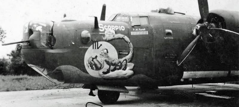 One of the nose arts by Phil Brinkman, of one of the eleven Zodiac signs, painted on 486th Bomb Group B-24 Liberators. In this photograph is the B-24 Liberator 42-52762 nicknamed