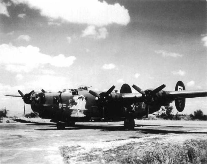 B-24 Liberator 'Trade Winds' 41-28837 of the 837th Squadron. Photo taken of plane on hardstand in Lavenham.