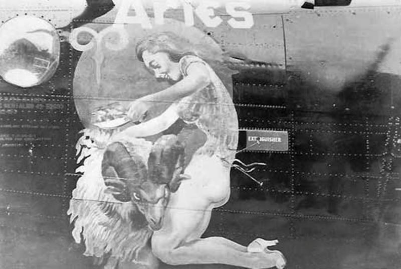 Corporal Phillip S Brinkman of the 486th Bomb Group painted the nose art of a B-24 Liberator 42-52693
