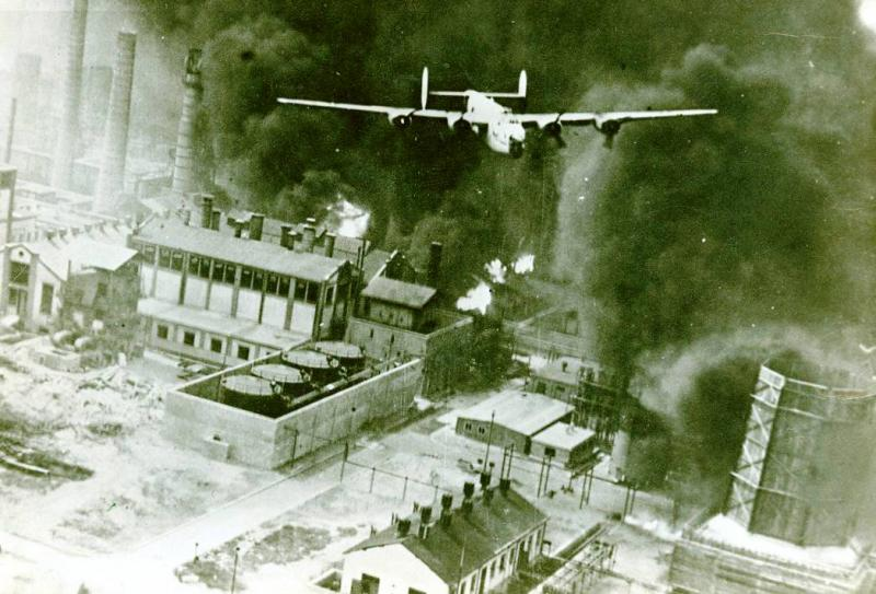 B-24 Liberator  #42-40402  'The Sandman'  98th Bomb Group  344th Bombing Squadron  piloted by Lt. Robert Sternfels flying just  on the bomb run on  White IV over Ploesti Aug 1, 1943