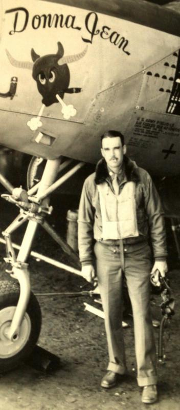Major Burl Glass.  Commander, 429th Fighter Squadron, 474th Fighter Group. stands beside his personal P-38J-15-LO, s/n 42-104205, coded 7Y-Y, nicknamed 'Donna Jean'.  Aircraft shot down by flak 27 December 1944 while on a napalm run near Lierneux, Belgium. The pilot, 2Lt. Harold K. Sargent, successfully bailed out, was taken POW, and sent to Stalag Luft I, Barth, Germany (MACR 11495).
