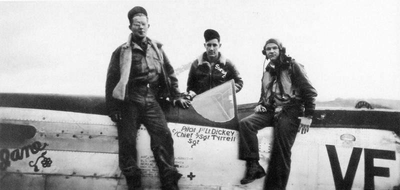Captain Melvin N. Dickey (right) with his Crew Chief S/Sgt Tyrrell (left).