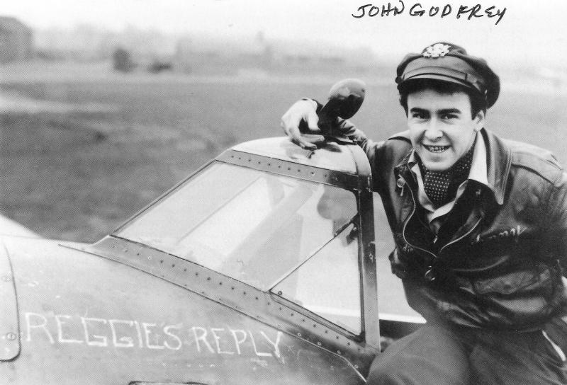 (at the time) 2nd Lt. John Godfrey's first ''REGGIE'S REPLY' was this P-47D Thunderbolt, Serial No. 42-7884, which he inherited from his future flight leader, 1st Lt. Don Gentile. Named after Godfrey's brother, who had perished during the Battle of the Atlantic, this aircraft alson bore the name LUCKY and an artwork of a dog on the port side of its engine cowling. 'Lucky' was the name of Godfrey's dog.