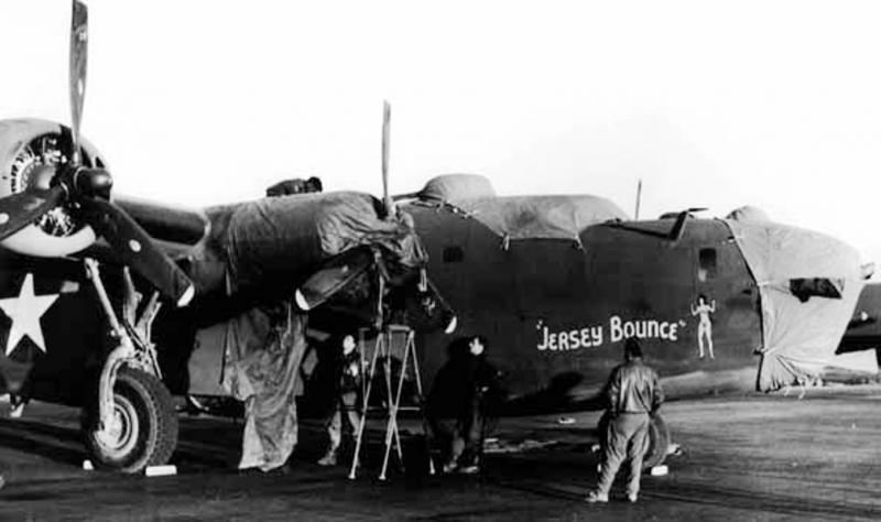 B-24 Liberator 42-40609 'Jersey Bounce'.   This aircraft was lost on 1st Aug 43 Ploesti oil refinery raid.
