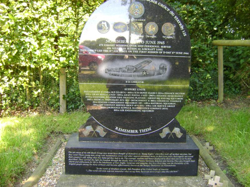 446th Bomb Group memorial, Abbey Road, Flixton